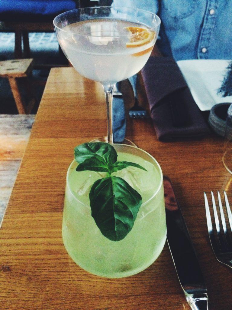 "Gin-based cocktails ""Basel Smash"" & ""Roji Aviation"" Roji, Antwerp"