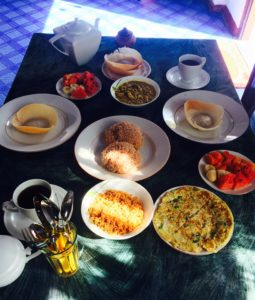 Sri Lankan breakfast in the guesthouse
