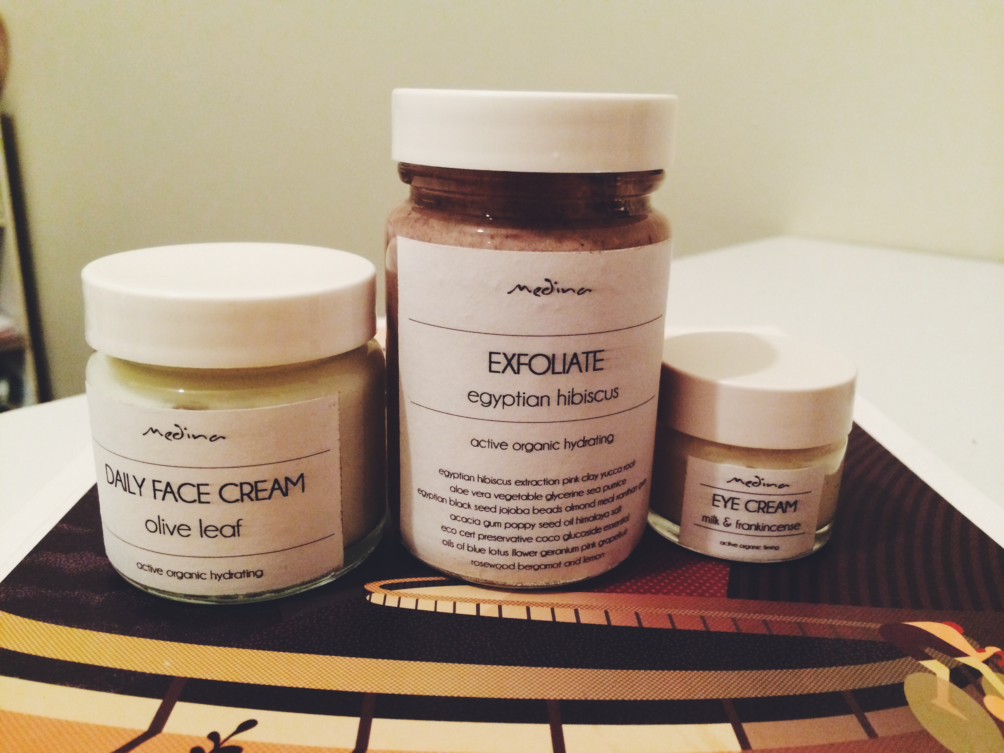 Incredible Medina products: Daily Face Cream, Exfoliate, Eye Crem