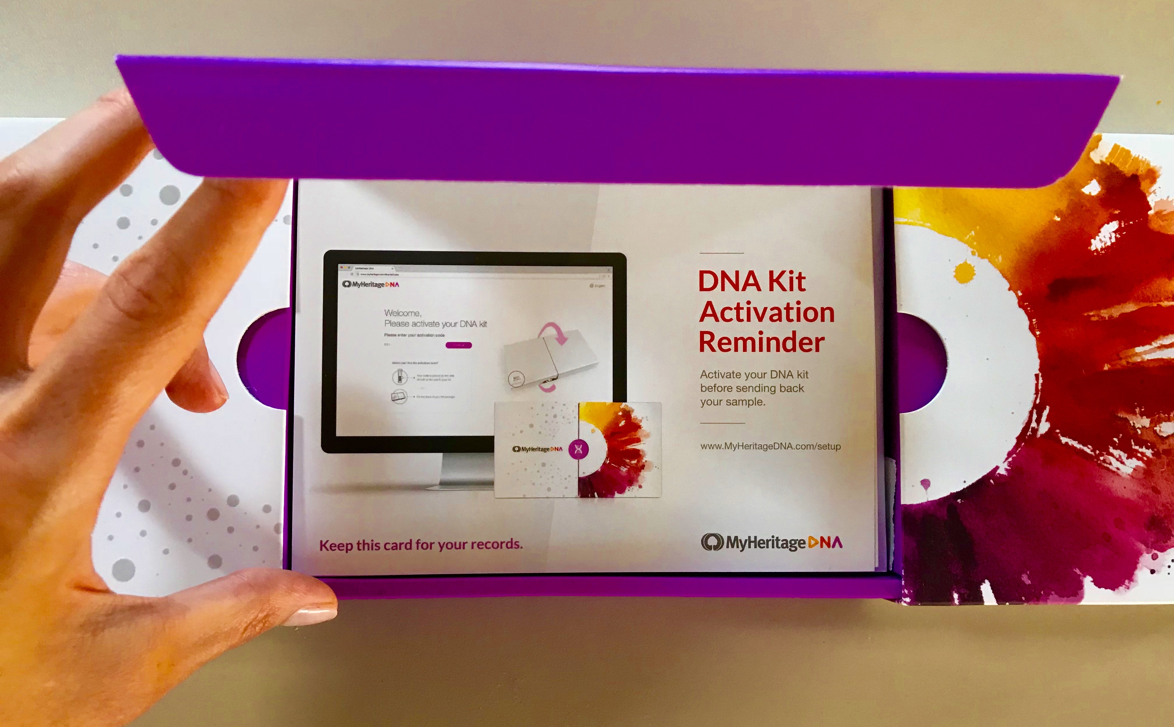 Opened box of MyHeritage Media Kit