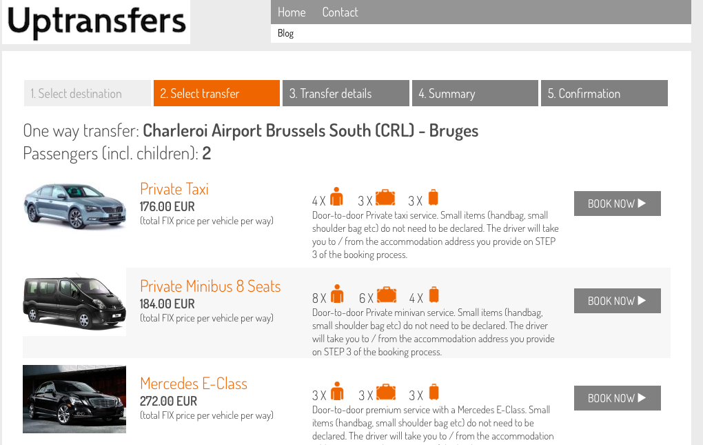 Booking Airport Transfer from Charleroi Airport to Bruges on on uptransfers.com