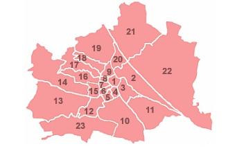 MAP OF VIENNA'S BEZIRKE