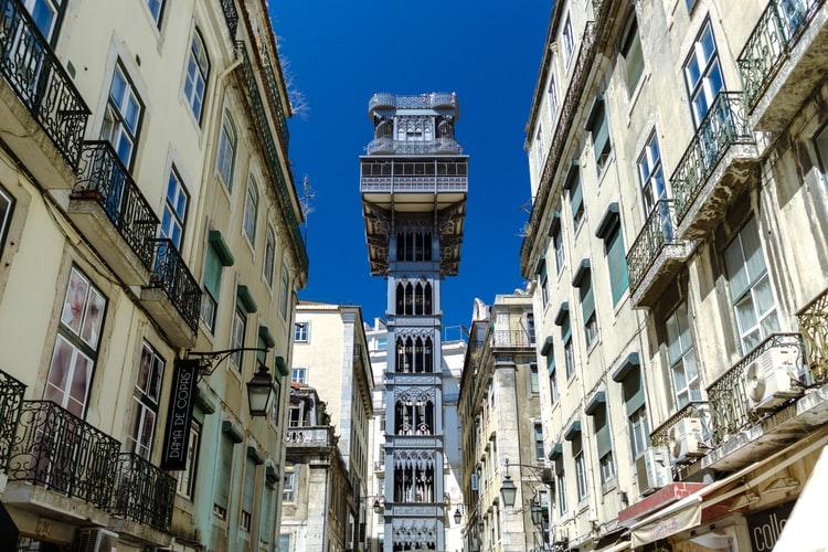 The Santa Justa Elevator in Lisbon Portugal.